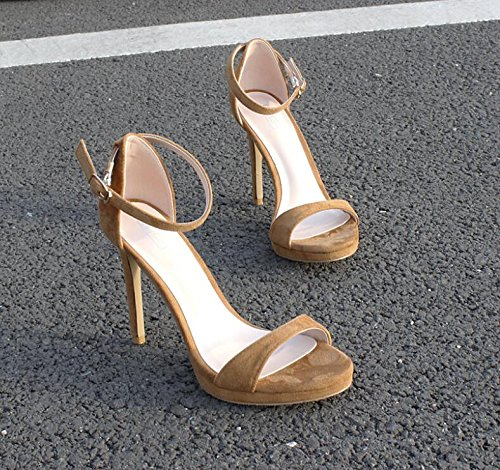 LGK&FA Stiletto Sandali Tutti Sottile-Match Toe Sandali Una Fibbia Femmina 35 Marrone Chiaro 34 light brown