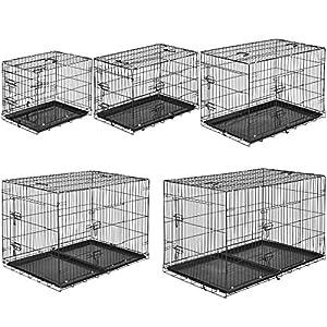 TecTake Cage de transport pour chien box grillagé | 2 grandes portes équipées de verrous | Pliant - diverses tailles au choix