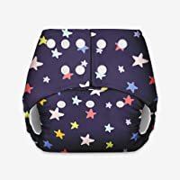 superbottoms Certified Soft Fleece Black Star Lined Pocket Diaper without Any Soaker (One Size)