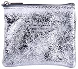 Italian Soft Leather Hand Made Metallic Silver Coloured Zipped Purse, Coin Purse or Debit Credit Card Holder Smaller Version