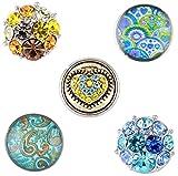 Morella® Damen SMALL Click-Button Set 5 Stück Druckknöpfe 12 mm Ø Paisley Muster mit Herz und bunten Steinen
