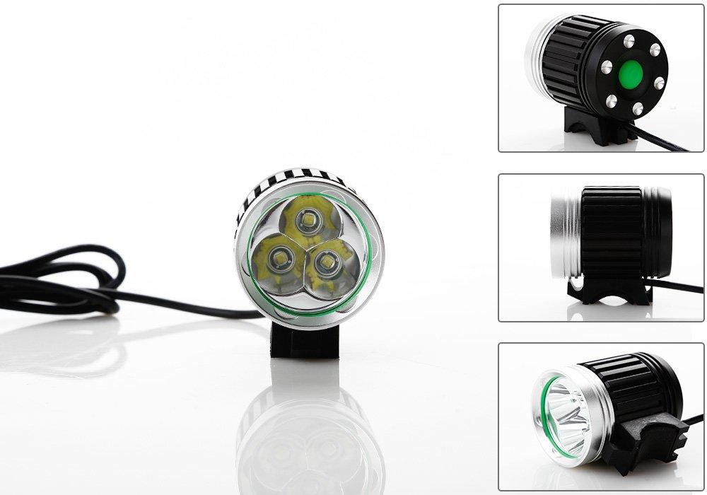KK-LIGHT - Faro CREE XML T6 3 LED per bicicletta, 4 modalità