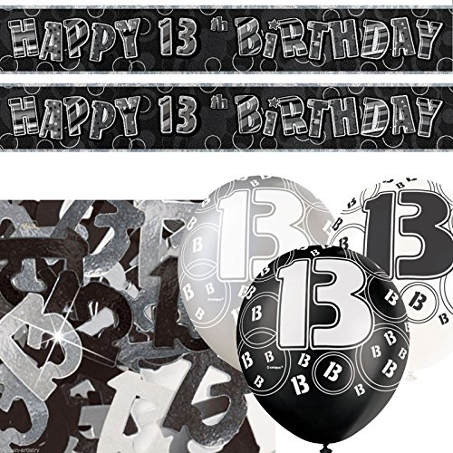 Black Silver Glitz 13th Birthday Banner Party Decoration Pack Kit Set by Happy Birthday (Birthday 13th Party)