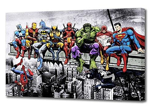 Marvel DC Comic Superhelden Girder Lunch Atop Skyscraper von Dan AVENELL Kunstdruck auf Leinwand (111,8x 66cm/110x 65cm)