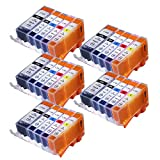 woppo Tintenpatronen Canon PGI-525x l CLI-526x l Ersatz für Canon Pixma MG5350MG5250MG6150MG5150MG5200MG5300MG5320MG6220MG6250MG8150MG8170MG8220MG8250IP4950IP4850IX6550IX6250iP4800MX715MX882MX885MX895Drucker 5×PGBK + 5×Black + 5×Cyan + 5×Magenta + 5×Yellow
