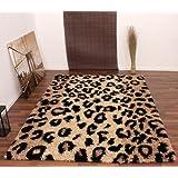 Teppich Hochflor Shaggy Leopard Muster Beige Schwarz, Grösse:80x150 cm