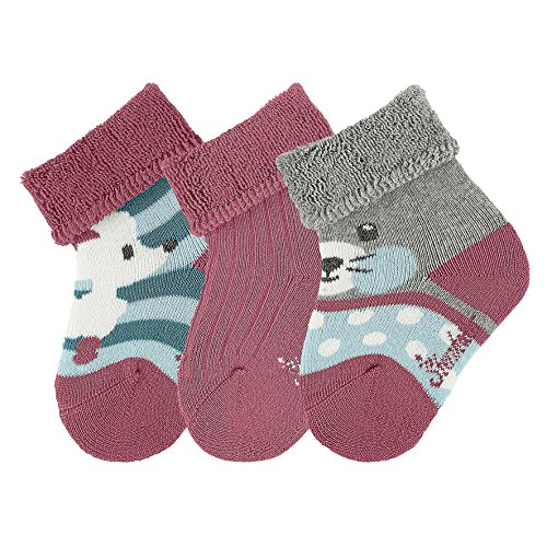 Sterntaler Baby-Mädchen Socken 3er-Pack Maus/Pudel, Gr. 15 (Herstellergröße: 14), Rosa (dahlie 766)