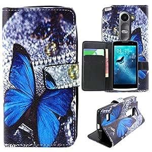 Rosa Schleife® Custodia in PU Artificiale Pelle per LG Leon LTE H340N C40 Flip Cover Wallet Case con Supporto di Stand Carte Slot Chiusura Magnetica (Farfalla Blu)