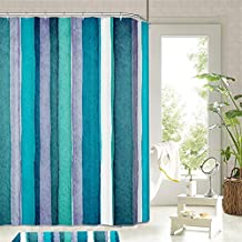HMHESQ Cortinas de baño Cortina De Baño Impermeable Cortina De Ducha A Prueba De Agua de ducha de poliéster de alta calidad Rayas azules y verdes Juego de baño de ducha de tela con ganchos , 200*180cm