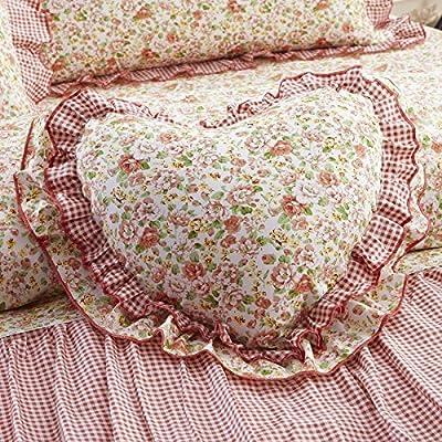 Zhiyuan Multicolor Florale Rüsche 100% Baumwolle Herz Kissen Gefüllt und Kissen 30 x 50cm, 10 Muster Erhältlich von Zhiyuan auf Gartenmöbel von Du und Dein Garten