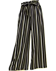 Missby Women's Vertical Striped Black Wide Leg Pleated Palazzo Trouser Pant Full Length with Belt Free Size (Stripes - White and Golden/Cream) for Casual and Formal Wear - Suitable for All Occassions