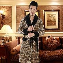 pengweiEl otoño y el Leopardo Atractivo de Grosor túnica de Terciopelo de Coral de Invierno de