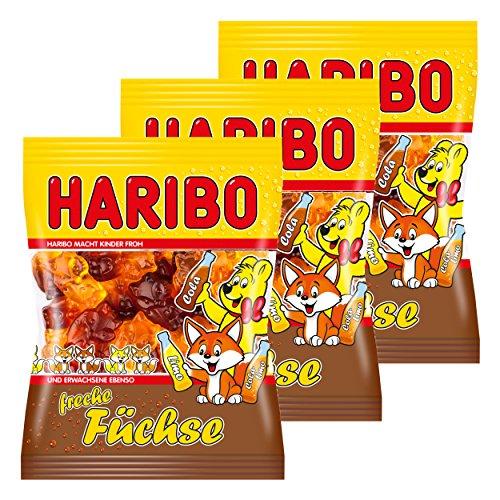 Haribo Freche Füchse, 3er Pack, Gummibärchen, Weingummi, Fruchtgummi, Im Beutel, Tüte