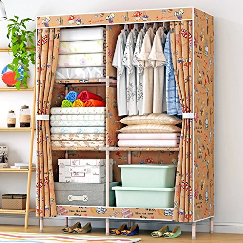 MMM& Armoire Simple Bois Massif Oxford Tissu Toile Adulte Armoires Assemblage Admission Chambre à coucher Placard ( couleur : #1 )