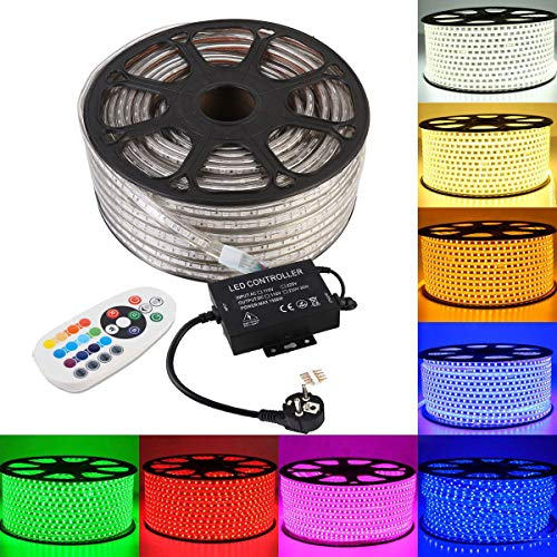 GreenSun LED Lighting 5050 SMD LED Streifen Strip mit 24 Tasten Fernbedienung RF Controller Lichtschlauch 60 LEDs/M für Zuhause Weihnachten Dekoratio, 20M RGB Lichtband Lichterkette