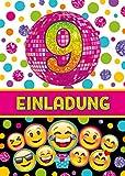 JuNa-Experten 6 Einladungskarten Zum 9. Kindergeburtstag für Mädchen / Einladung neunte Geburtstag / Einladungen Zum Geburtstag / Kartenset für Kindergeburtstag / Glitzer