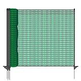 Gartennetz Universal Begrenzungszaun VOSS.farming farmNET 20 m Premium, 80 cm, 12 Pfähle, dunkelgrün, Hundezaun, Welpenzaun, Beetschutz -
