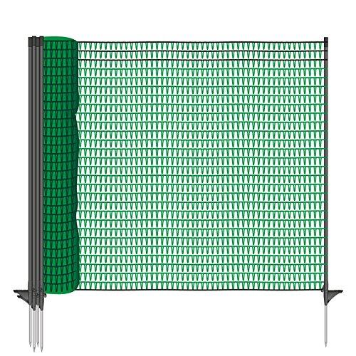*Gartennetz Universal Begrenzungszaun VOSS.farming farmNET 20 m Premium, 80 cm, 12 Pfähle, dunkelgrün, Hundezaun, Welpenzaun, Beetschutz*