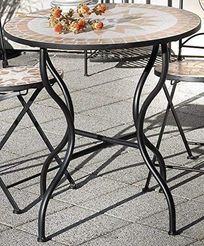 linoows Gartentisch Florenza, Mosaik Möbel im Mediterrane Stil, Tisch Rund 60 cm. - Mediterraner Stil Möbel