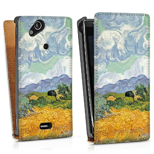 Sony Ericsson Xperia Arc S Tasche Schutz Hülle Walletcase Bookstyle Vincent van Gogh Wheatfield with Cypresses Kunst (Arc Cypress)