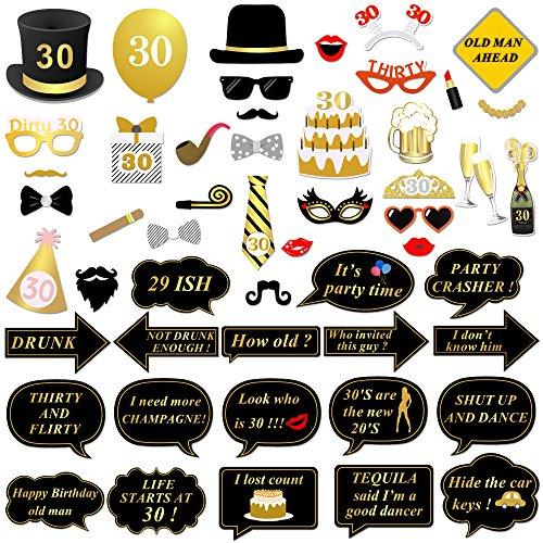 ag Fotorequisiten Fotoaccessoires 52 PCs DIY Geburtstag photo booth Props für männer frauen geburtstag party accessoires Schwarz & Gold 30. geburtstagsdeko 30 Jahre alt Geburtstags ()