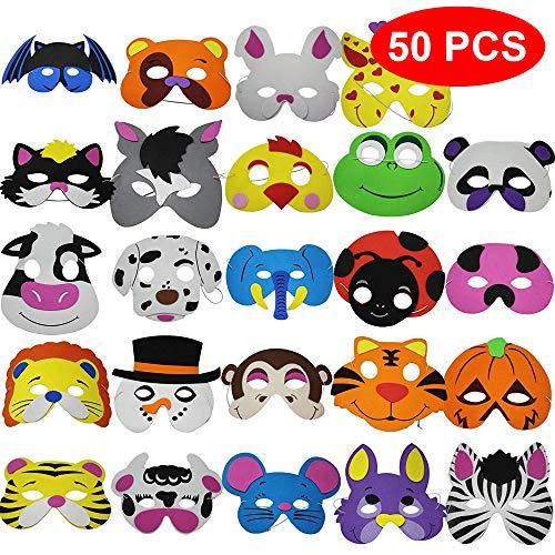 THE TWIDDLERS 50 Kinder Schaumstpff Masken Halloween - 25 Verschiedene Designs - Perfekt für Partytaschenfüller - Preise - Partygeschenke Etc. (Kinder Für Halloween-maske Designs)