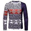 Sannysis Herren Slim Fit Hoodie Pullover Herbst Winter Stricken Sweatshirt Sweatjacke mit Retro Boho Muster