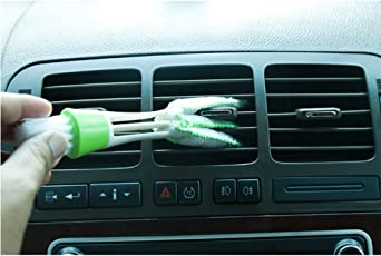 MosQuick Multipurpose Microfiber Double Sided Car Cleaning Brush for Car A/c vents, blinds , Keyboard , dashboard and more , Color Green & White