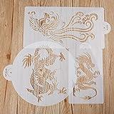 Schablone, Set Laser Cut Gemälde Boden Wand Fliesen Stoff Holz Schablonen Kuchen dekorieren stencils-dragon und Phoenix Designs (3St)