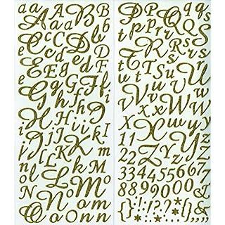 Artemio 177-Piece Glitter Alphabet, Gold