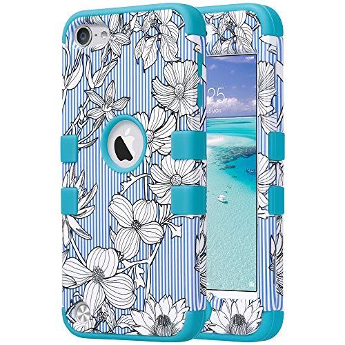 �lle, iPod Touch 5 Hülle 3 Layer Hybrid Combo Innere Weiche Silikon Hart Plastik Anti-stoß Schutzhülle Tasche Case Cover für Apple iPod Touch 5/6 th Generation, Blume ()