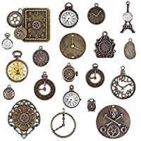 BronaGrand 20 Pieces Mixed Vintage Steampunk Cyberpunk Watch Parts Clock Face Charms Pendants Cog Wheels Gears for Bracelets, Necklaces or Crafting