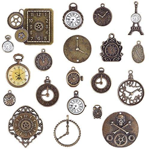 BronaGrand - 20 piezas de relojes mixtos vintage Steampunk Cyberpunk para pulseras, collares o manualidades