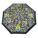 Perletti Minions Regenschirm Taschenschirm für Jungen - Ich Einfach Unverbesserlich - Despicable Me Mini Schirm - Sturmfest und Beständig - Schwarz und Gelb - Manuelle Öffnung - Durchmesser 89 cm