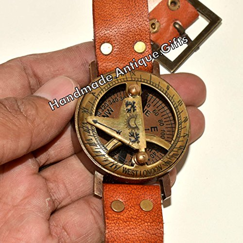 Reloj de sol brújula latón reloj de pulsera funcional marítima Marino grabado bolsillo