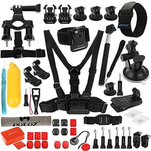 Accessori Kit 53pz per Gopro Hero 7 | 6 | 5 | 4 | 3 | 2 HD | 1 | Xiaoyi - Banda per torace modello A, Supporto Manubrio bicicletta con Vite, ecc.