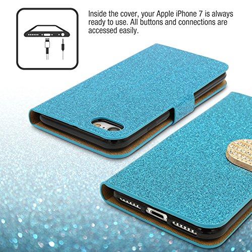 URCOVER Coque Portefeuille Housse Pochette Glittery Diamant pour Apple iPhone 7 | Wallet Case Étui a Rabat avec Strass Scintillantes et Pailletté en Bleu Bleu