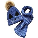 JFAN Set de Bufanda Gorro Niños Niñas Sombrero de Invierno para Niños Forro de Vellón 2-8 años Gorro de Pompón de Piel para N