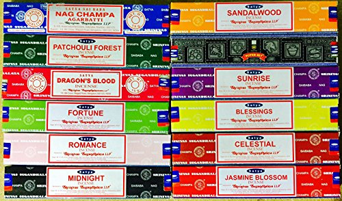 Satya Sai Baba Nag Champa - Variedad de 12cajas de 15g de incienso, incluye Nag Champa, Celeste, Medianoche, Bosque de pachuli, Sándalo, Amanecer, Romance, Bendiciones, Fortuna, Flor de jazmín, Super Hit y Sangre de dragón.