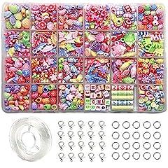 Idea Regalo - Ewparts 24 Perline Fai da Te bigiotteria Perlina perlineel Perlina Artistica per Bambini (Stile retrò)
