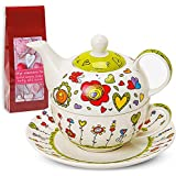 Tea For One Teapot Set With Cup And Saucer In Gift Box 17 x 13 cm Flowers/Hearts Design Green