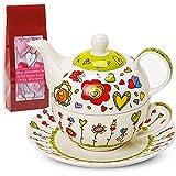 Teekannen-Set Tea For One mit Tasse & Untersetzer Blumen / Herzen grün 17x13 cm inkl. 100 gr. Teegenuss
