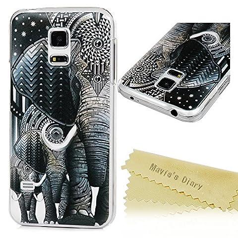Mavis's Diary Schutzhülle für Samsung Galaxy S5 Mini Hülle Gemalt Tribal Elefant Muster Muster Hartcase Plastik Dekoration Fall Euit Back Cover Bumper Handytasche Scratch Telefon-Kasten Handyhülle