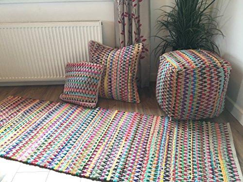 Gorgeous Multi Color zig zag diseño suave indio alfombra 90cm x 150cm
