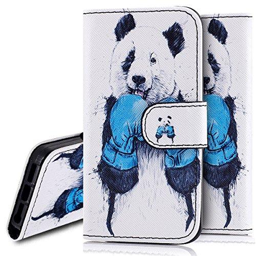 Custodia iPhone 5S cover iPhone 5 case iPhone SE,Ukayfe Stitching Colore Flip Case Cover per iPhone 5S,iPhone 5 iPhone 5S iPhone SE Lussuosa Astuccio Custodia Cover [PU Leather] [Shock-Absorption] Pro Panda 2#