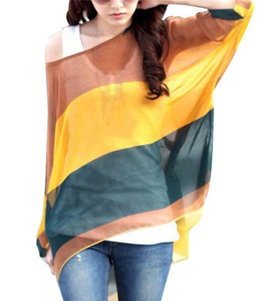 ab0e37461d99 Camicetta Donna Estate – Feelme Maglietta Manica 3 4 Bohemian Chiffon Blusa  Taglie Forti T Shirt Stampa