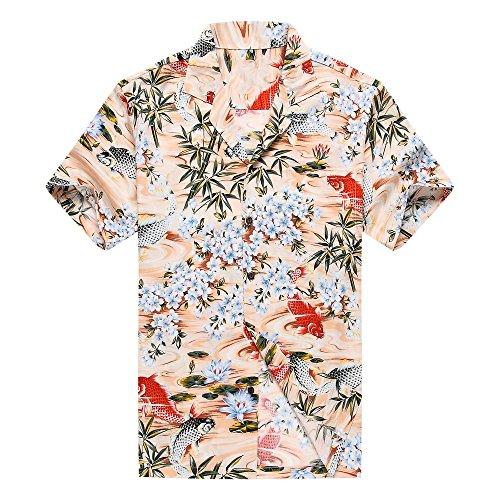 Hecho-en-Hawaii-Camisa-hawaiana-de-los-hombres-Camisa-hawaiana-XL-Pescado-negro-rojo-Koi-floral-en-melocotn