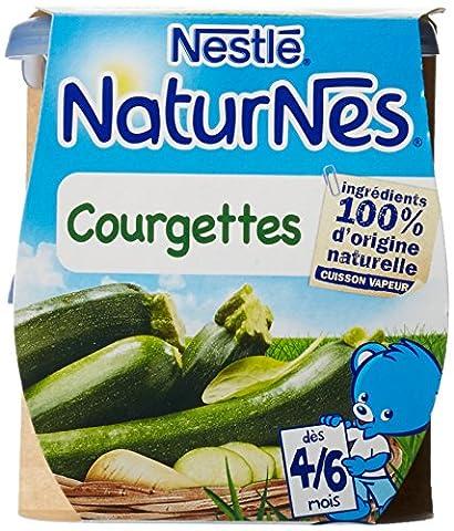Nestlé Bébé Naturnes Courgettes - Purée de Légumes dès 4 - 6 Mois - 2 x 130g - Lot de 6
