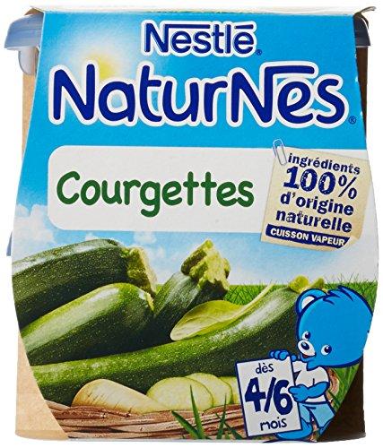 Nestlé Bébé Naturnes Courgettes Purée de légumes dès 4/6 mois 2 x 130g - Lot de 6