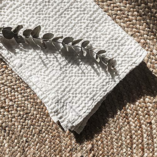 Leinen Handtuch Freda weiß, Waffelstoff weich, Handtuch Badetuch Baumwolle, weisses Leinentuch, Handtücher schnelltrocknend Leinen-handtuch